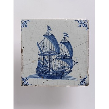 Wall tile, made Friesland?, Netherlands, 1650-1700, tin-glazed earthenware with painted decoration in blue, a ship V:3-1923