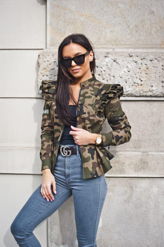 Kurtka Zakiet Moro Z Falbankami In 2021 Fashion Military Jacket Jackets