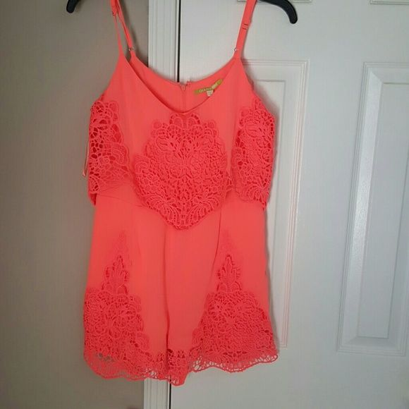 GIANNI BINI coral romper LAST ONE... medium and large sold!!!  This romper is EVERYTHING..neon coral,lace..... spring is arriving and summer around the corner.... Gianni Bini Dresses