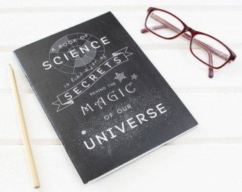 Science is Magic Chalkboard Notebook for Scientists. Plain Pages. Scientific Stationery Geeks. Black, UK Printed. Inspirational Nerd Quote