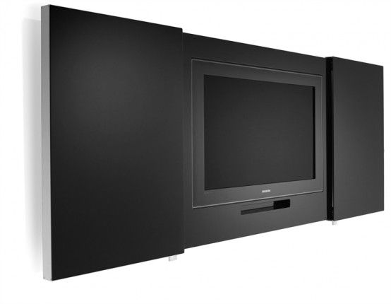 Floor loves this smart idea of hiding TV. Black And White Minimalist Tv Stands Messenger By Lammhults