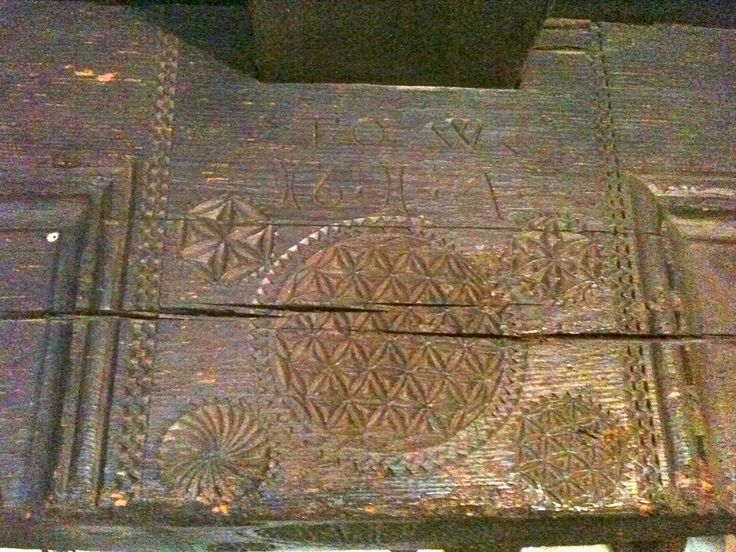Austrian oak beam with Flower of Life carving. Undated.