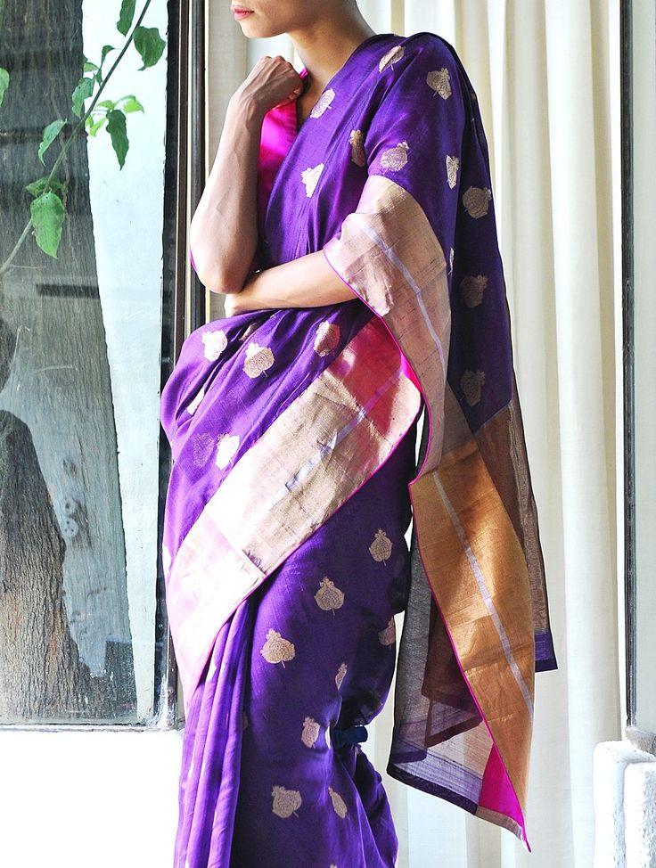 Handwoven Purple Begum Akhtar Silk Zari Saree by Raw Mango
