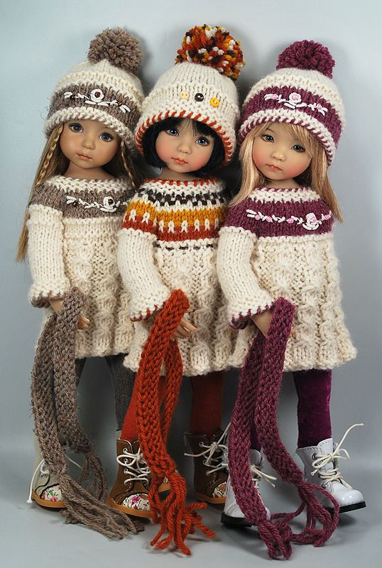 """""""Fall_Trio 1"""" by Maggie & Kate Create (Little Darling Dolls by Dianna Effner)     October 7, 2014"""