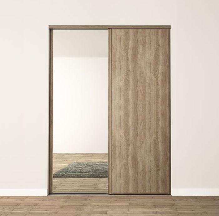 2 Portes Coulissantes Chêne Raboté Et Miroir Profils Harmonie Chêne Raboté Porte Coulissante Miroir Chene