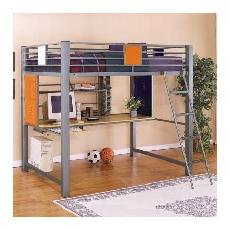 Powell Locker Room Style Full Study Loft Bed Bedrooms