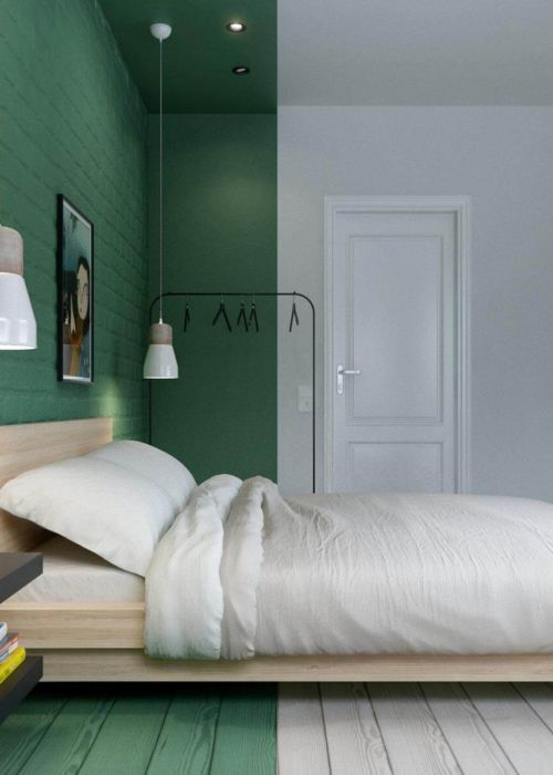 Wall design green: How to use the color effectively