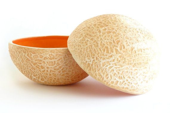 Cantaloupe bowl - yummy pottery moulded from a real melon!
