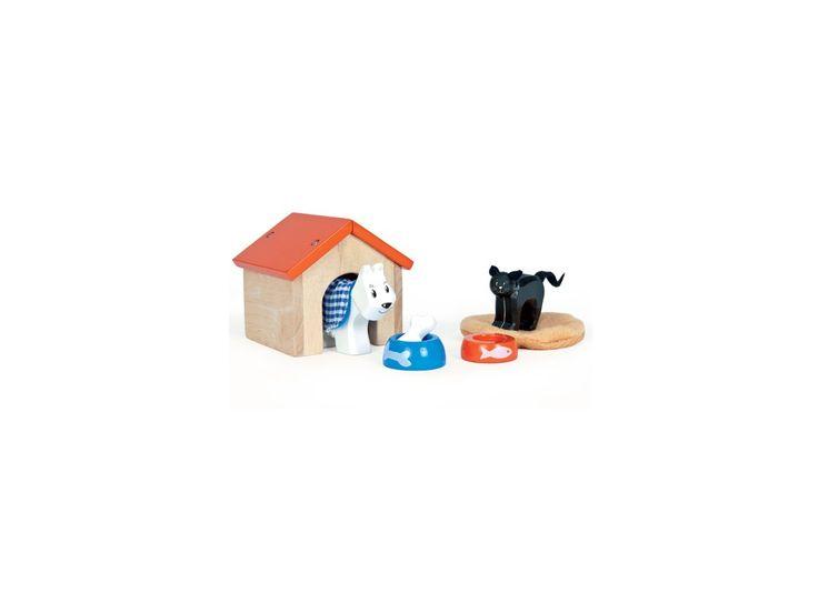 <p>nádherný dřevěný set s domácími mazlíčky a doplňky pro ně; obsahuje psa, boudu, misku s kostí, kočku, kočičí podložku a misku; hračka je doporučená pro děti starší 3 let; dřevěné a malované</p>