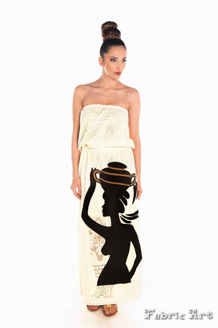 "Strapless crochet maxi dress with handmade applique ""Greek Woman with Ornament"""