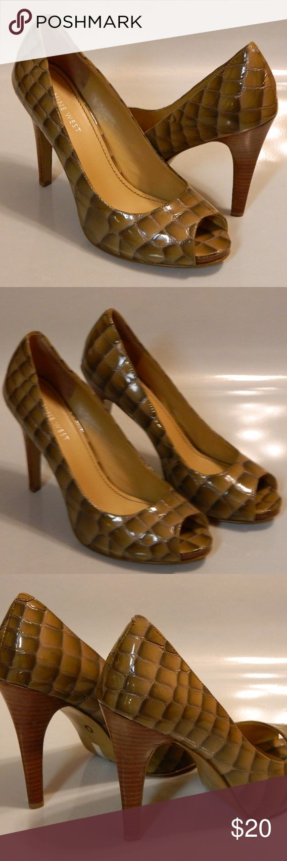 """NINE WEST Womens Pump Leather Crock Taupe 8M EUC NINE WEST Escher Women's High Heels Shoes Peep Toe Leather Croc Taupe Sz 8M EUC  ·        Brand: Nine West ·        Style: Escher ·        Color: Taupe ·        Material: Patent Leather ·        Pattern: Animal Print (Croc) ·        Heel Type: Stiletto 4 1/4"""" ·        Size: 8 ·        Width: Medium ·        Country/Region of Manufacturer: --- ·        Condition: Excellent Used Condition (Significant wear to bottom soles only.) Nine West Shoes…"""