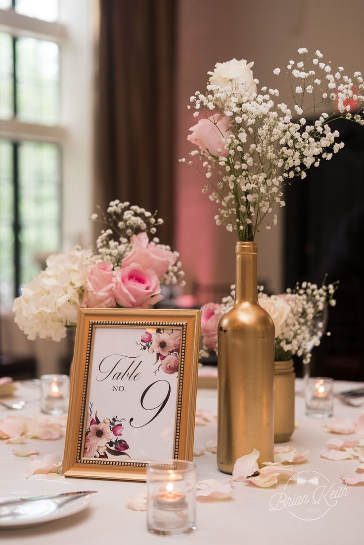 Rose Gold Centerpice Display | Alden Castle: A Longwood Venue | Brian Keith Photography