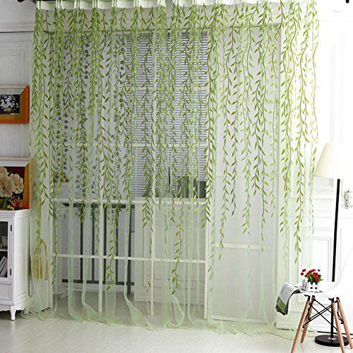 Daxin Willow Tulle Voile Door Window Curtain Drape Panel Sheer Scarf Valances Green -- Click on the image for additional details.