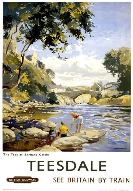 Poster produced for British Railways North Eastern Region showing people on the rocks by the waters edge of the River Tees in County Durham with a bridge and Barnard Castle in the background. 1958. Artwork by Jack Merriott.