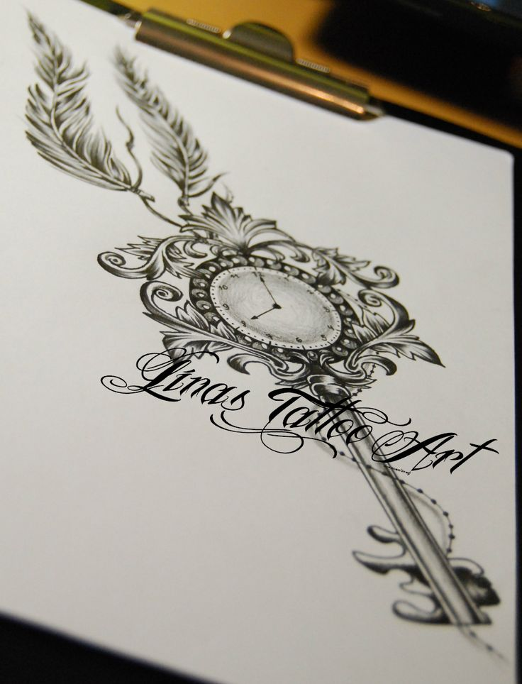 Interest tattoo ideas and design - Clock Key Tattoo Design With Feathers Photo - 2. If you want to make a tattoo, look how it looks from other people!