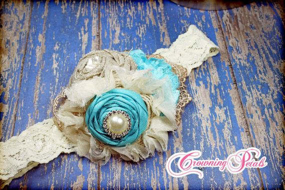 Hey, I found this really awesome Etsy listing at https://www.etsy.com/listing/128268279/turquoise-tan-burlap-hair-piece-aqua