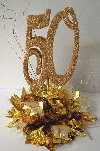50th Gold Wedding Anniversary Centerpiece
