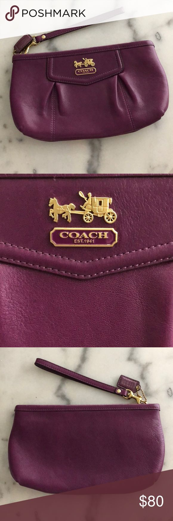 Purple Leather Coach Clutch/Wristlet Purple Leather Coach Clutch/Wristlet. Impeccable condition, no flaws! Measures approximately 10 inches wide by 6 inches tall. Detachable Wristlet piece. Coach Bags Clutches & Wristlets