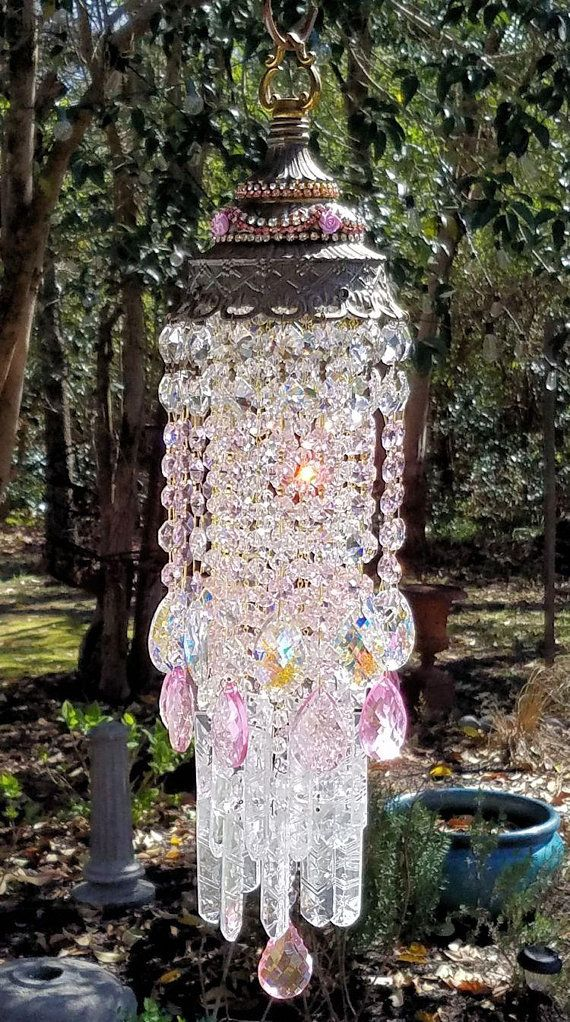 Pink Antique Crystal Wind Chime, Jeweled Crystal Wind Chime, Garden Art, Crystal Art, Garden Decoration, Home Decor, Pink Crystal Rhinestone