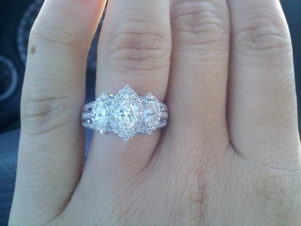 3 Stone Marquise Diamond Engagement Ring