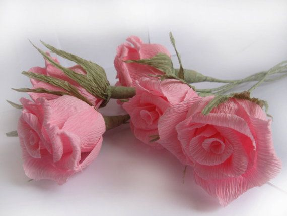 5 PCS Pastel Pink Paper Roses Crepe Paper Flowers by moniaflowers
