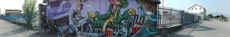 Street art a Corte Franca - Energy Wall -RiquaLife è il progetto di riqualificazione urbana realizzato dal Comune con l'associazione Pig. Il Comune di Corte Franca affida alle nuove generazioni il ripensamento di alcuni angoli trascurati o ad elementi obsoleti. Il primo progetto:  trasformazione di quattro cabine elettriche, Il titolo del lavoro Energy Wall.