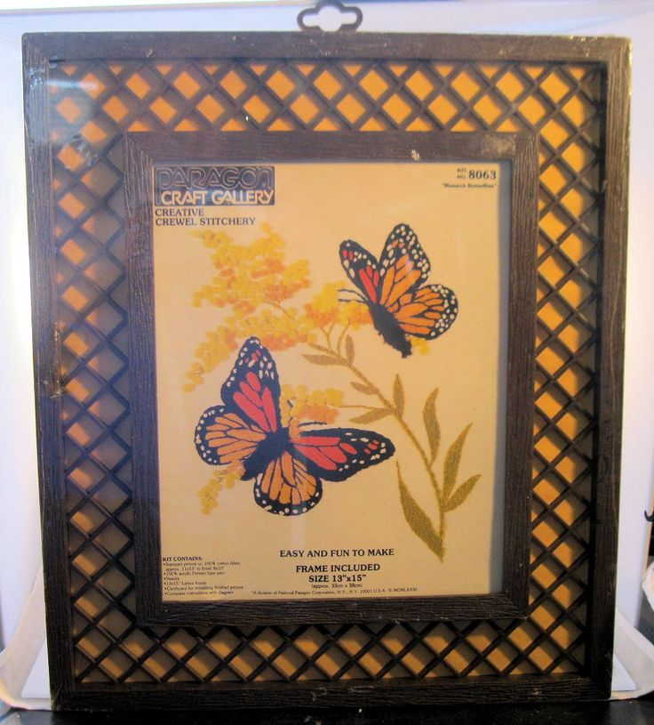 $15.00 1981 Monarch Butterflies Paragon Craft Gallery Crewel Stitchery Kit No. 8063 with Frame in Original Package by BrightEyesTreasures on Etsy