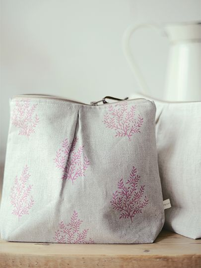 Olivia Ripple Washbags handmade by L&S Interiors for Peony and Sage in Olivia in Ripple on Flax by Peony and Sage Linens
