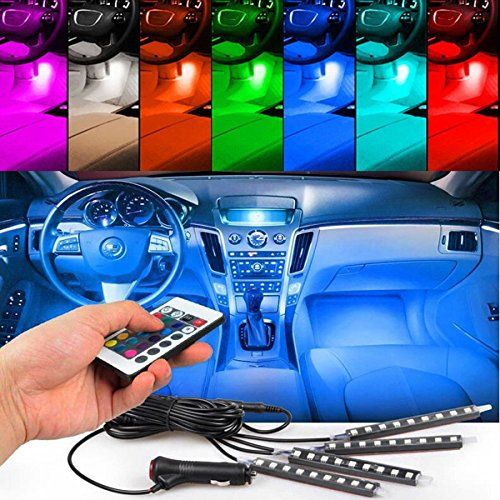 4pcs Car Interior Decoration NERLMIAY Atmosphere Light LED Lighting Kit With 7