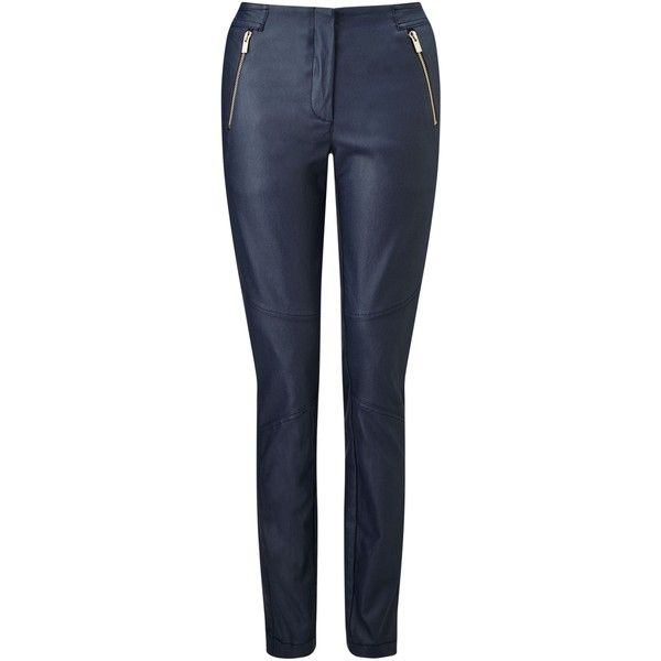 James Lakeland Zip Trousers ($135) ❤ liked on Polyvore featuring pants, navy, women, metallic trousers, slim trousers, slim fit navy pants, cigarette pants and shiny pants