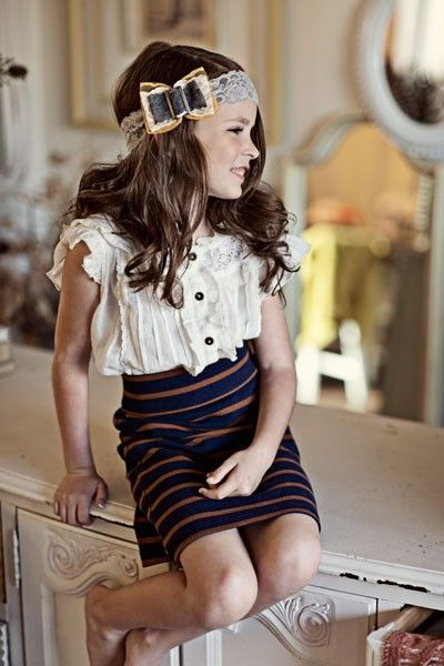 skirt, blouse, headband