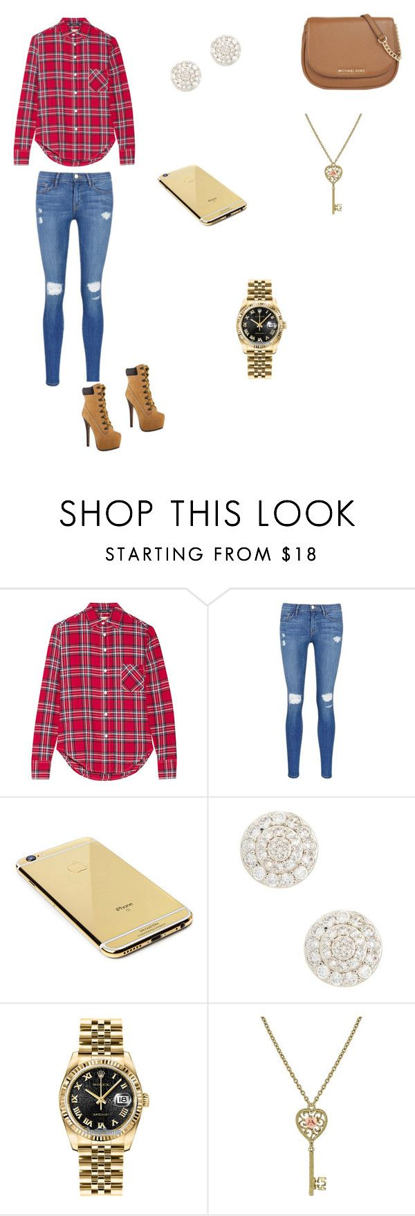 """Untitled #7"" by alyissa-narvais ❤ liked on Polyvore featuring R13, Frame Denim, Jimmy Choo, Goldgenie, Nadri, Rolex, 1928 and MICHAEL Michael Kors"