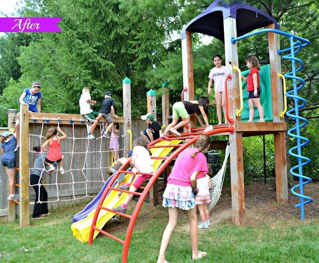 cargo net on monkey bars backyard pinterest swing