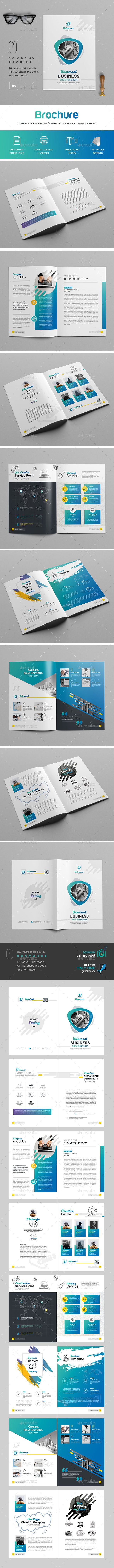 "Brochure  Specification      CMYK Color Mode     300 DPI Resolution     Print Size (A4 Paper) (8.27×11.69"")     3 mm Bleed in Each Side  Features      Free Fonts     Smart Object For Replace Photo & Logo     Infographic element 100% editable     All Illustrations Included     16 PSD Files (32 Pages)     Read me.txt (help file)"