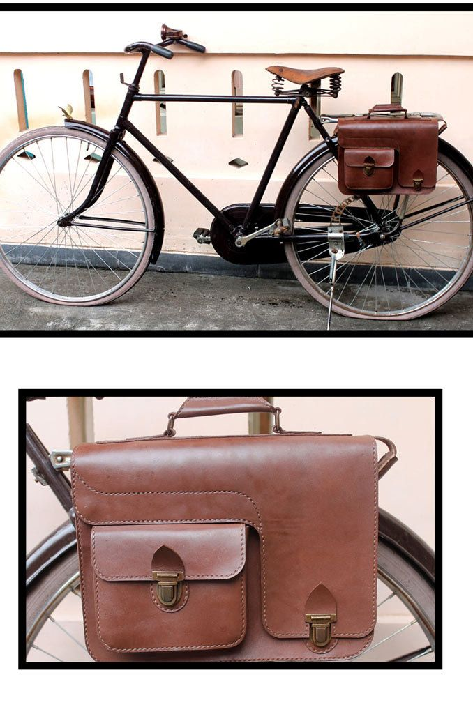 Handmade brown traditional veg tanned leather bicycle rear pannier/rear rack/ messenger bag. $70.00, via Etsy.