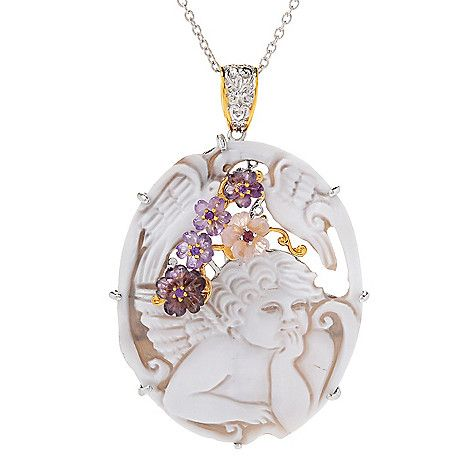 165-470 - Gems en Vogue  Limited Edition  Carved Shell  Cameo & Gemstone  Pendant w/ Chain
