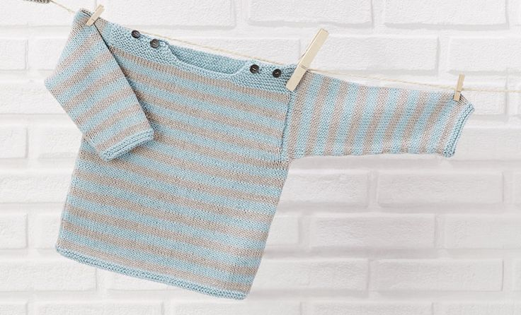 Book Baby 80 Spring / Summer | 6: Baby Sweater | Stone grey / turquoise