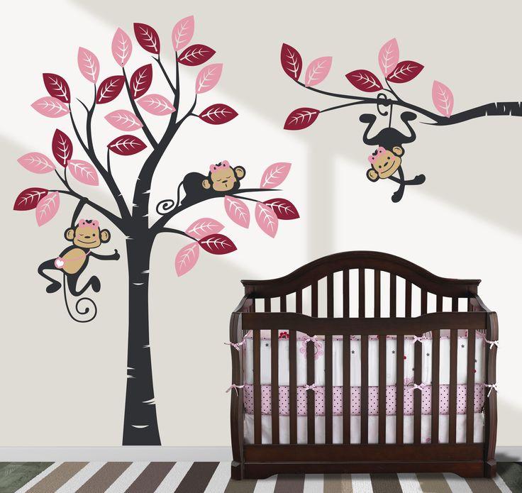 Ağaç Ve Maymunlar Kız Çocuğu Odası Renkli Duvar Sticker  Fiyat: 164 TL