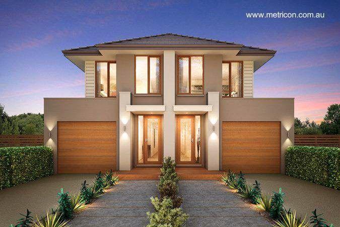 Imagen de renderizado de proyecto para hacer dos casas dúplex como viviendas gemelas