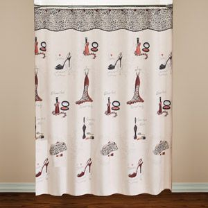 Gentil Red Carpet Shower Curtain And Hook Set
