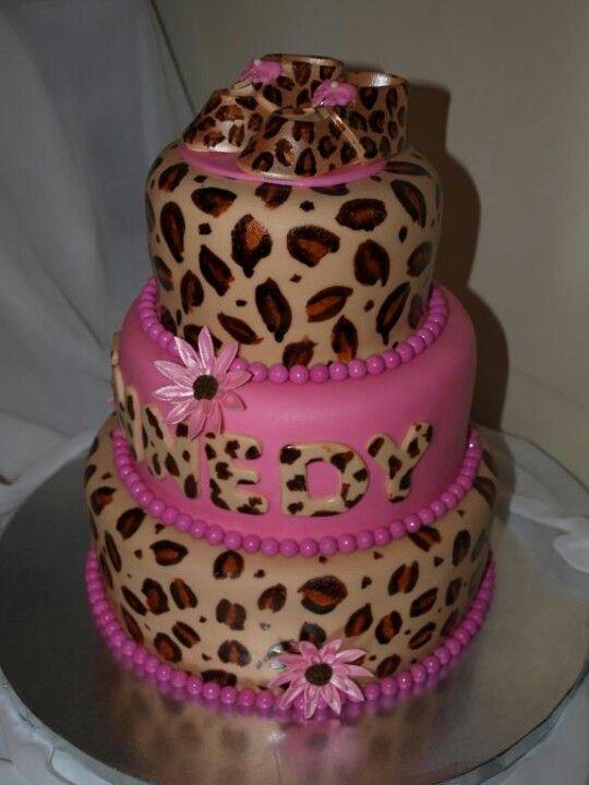 Cheetah Print Baby Shower Cakes