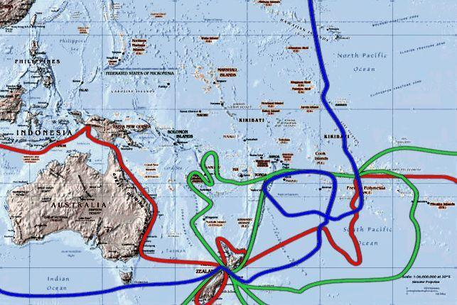 Red - First Voyage  Green - Second Voyage Blue - Third Voyage