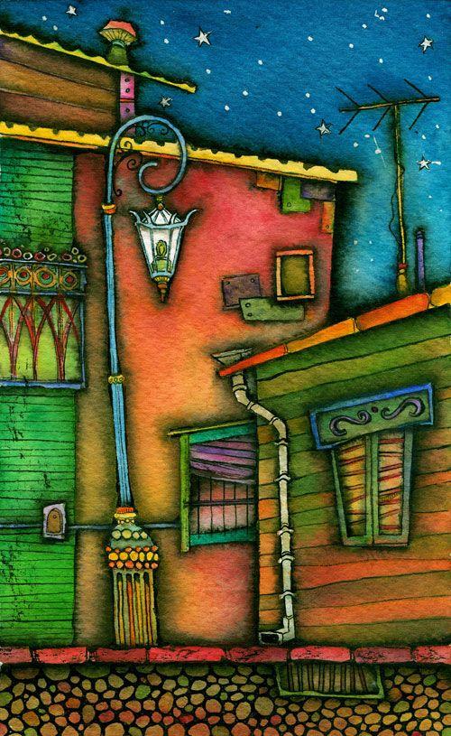 """Barrio de tango (imágenes de La Boca) Vladimir Merchensky Escenografía para la obra de teatro """"Divertitango"""" Políptico de 4 piezas Tintas y acuarela sobre papel de algodón 13,5 x 22,5 cm cada pieza"""