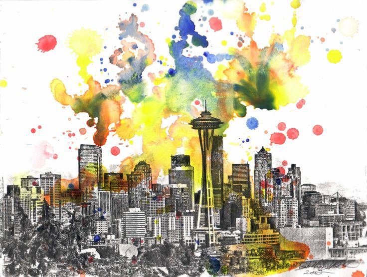 10 best wall art images on Pinterest | Seattle skyline, Skyline ...