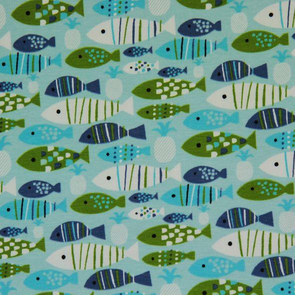 Bavlněný úplet Rybičky na sv. modré Little Darling. Klidné vody