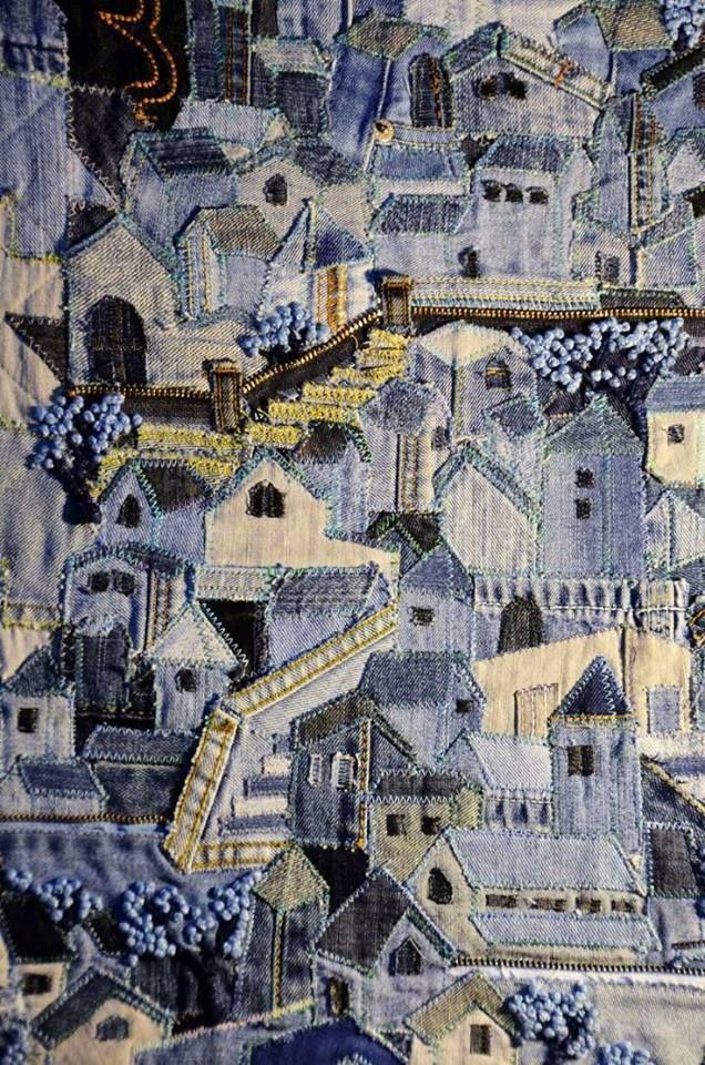 tableau textile en jeans