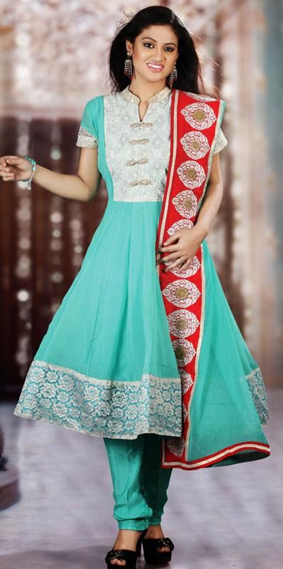 $131.76 Aqua Blue Faux Georgette Anarkali Style Salwar Suit 25040
