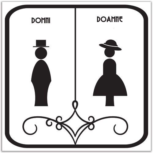 Indicator pentru toaleta pentru Domni si Doamne cu imaginea unui domn si a unei doamne cu palarie.
