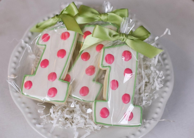 Polka Dot Number One Cookies ... A sweet First Birthday favor ... pink and green color scheme