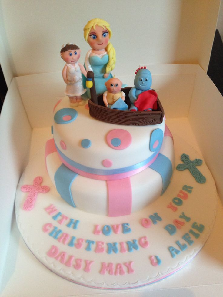 Christening cake with Iggle Piggle and Elsa on :-)